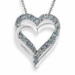 Two Hearts Forever One Sterling Silver Sky Blue Topaz Double Heart Pendant