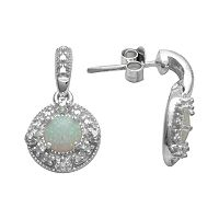 Sterling Silver Lab-Created Opal & Diamond Accent Drop Earrings