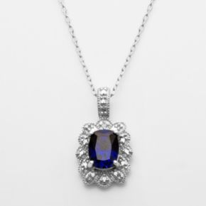 Sterling Silver Lab-Created Sapphire and Diamond Accent Pendant