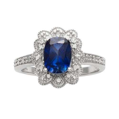 Sterling Silver Lab-Created Sapphire & Diamond Accent Scalloped Halo Ring