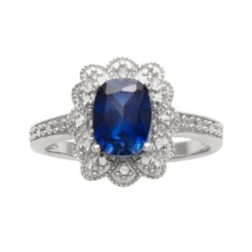 Sterling Silver Lab-Created Sapphire and Diamond Accent Scalloped Halo Ring