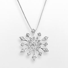 Sterling Silver Diamond Accent Snowflake Pendant