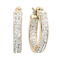 8bd995430 Sterling 'N' Ice 14k Gold Over Silver Crystal Hoop Earrings - Made with  Swarovski
