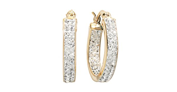 Sterling N Ice 14k Gold Over Silver Crystal Hoop Earrings Made With Swarovski Crystals