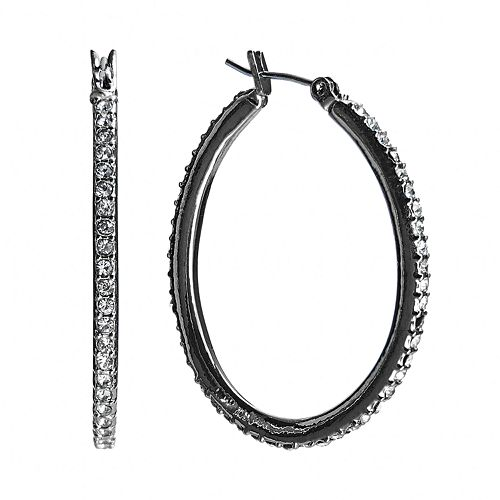 Chaps Jet Simulated Crystal Oval Hoop Earrings
