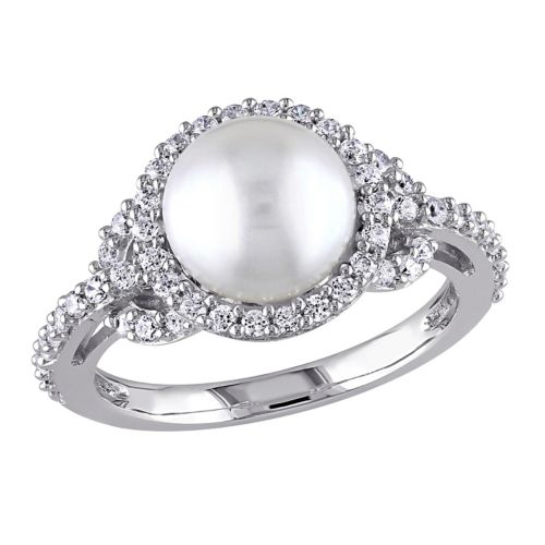 Sterling Silver Freshwater Cultured Pearl and Cubic Zirconia Ring