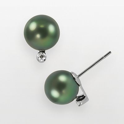 14k White Gold Tahitian Cultured Pearl and Diamond Accent Stud Earrings