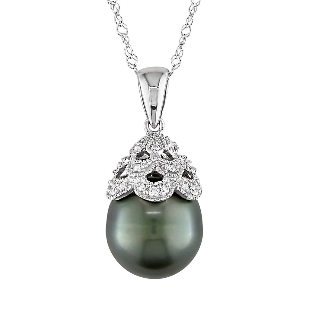 10k White Gold Tahitian Cultured Pearl & Diamond Accent Pendant