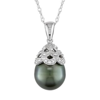 10k White Gold Tahitian Cultured Pearl and Diamond Accent Pendant