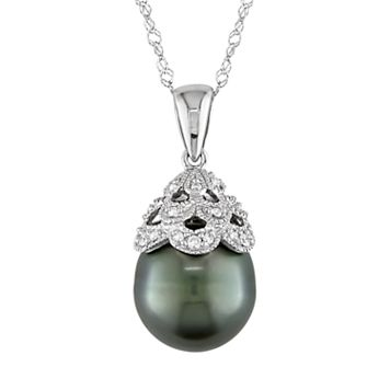 10k White Gold Tahitian Cultured Pearl & Diamond Accent Pendant