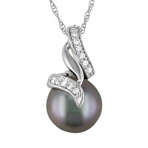 10k White Gold 1/10-ct. T.W. Diamond and Tahitian Cultured Pearl Swirl Pendant