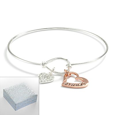 Two Tone Silver Plated Cubic Zirconia Friends Bangle Bracelet