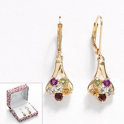 18k Gold Plate Gemstone Cluster Drop Earrings