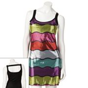 Eyelash Striped Sequin Dress - Juniors