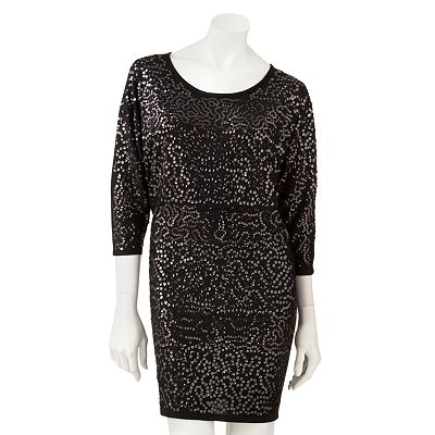 Eyelash Sequin Dolman Dress - Juniors