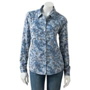 Mudd Floral Tie-Dyed Denim Shirt - Juniors