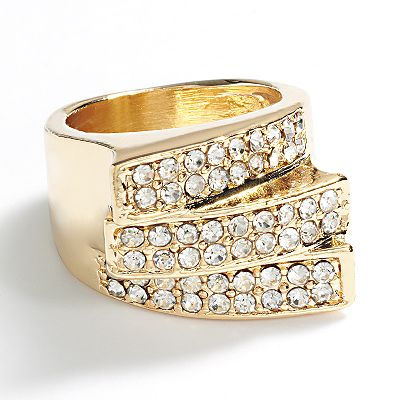 daisy fuentes Gold Tone Simulated Crystal Ring