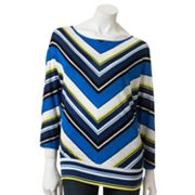 Apt. 9 Chevron Banded-Bottom Top