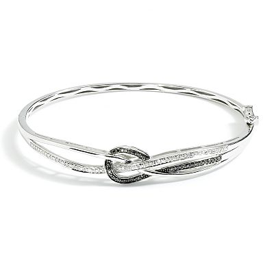 Sterling Silver 1/5-ct. T.W. Black and White Diamond Knot Bangle Bracelet