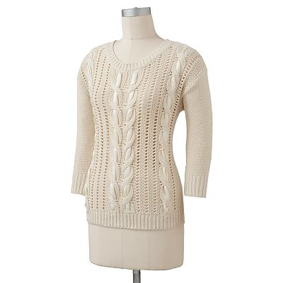 LC Lauren Conrad Ribbon Cable-Knit Sweater