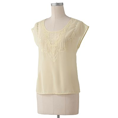 LC Lauren Conrad Embroidered Chiffon Top