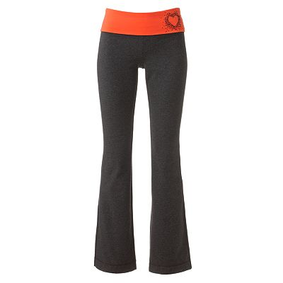 SO Heart Studded Fold-Over Yoga Pants - Juniors