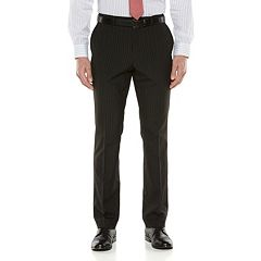 Big & Tall Savile Row Striped Black Suit Pants