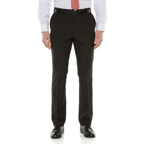 Savile Row Striped Black Suit Pants - Big and Tall