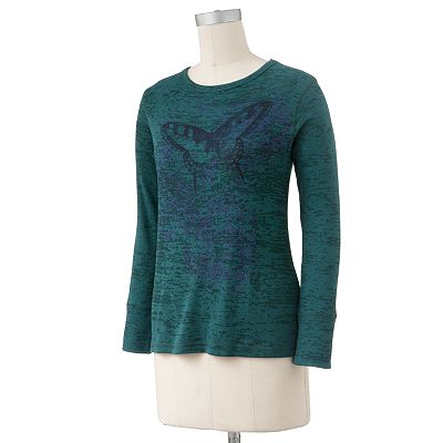 SONOMA life + style Butterfly Burnout Thermal Top - Petite