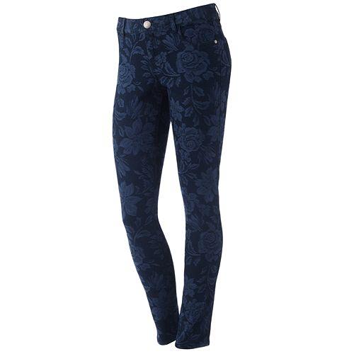 ELLE™ Floral Jacquard Skinny Jeans