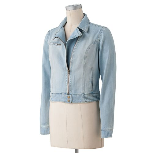 LC Lauren Conrad Denim Motorcycle Jacket