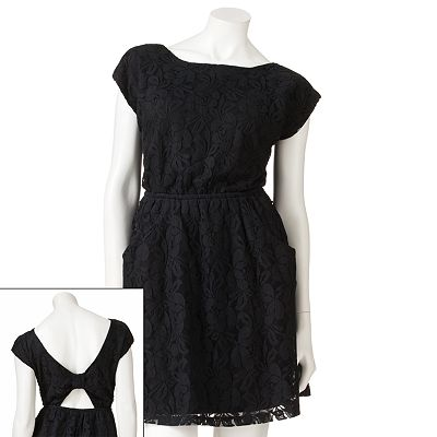 HeatSoul Lace Open-Back Dress - Juniors