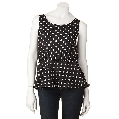 Eyelash Polka-Dot Peplum Tank - Juniors