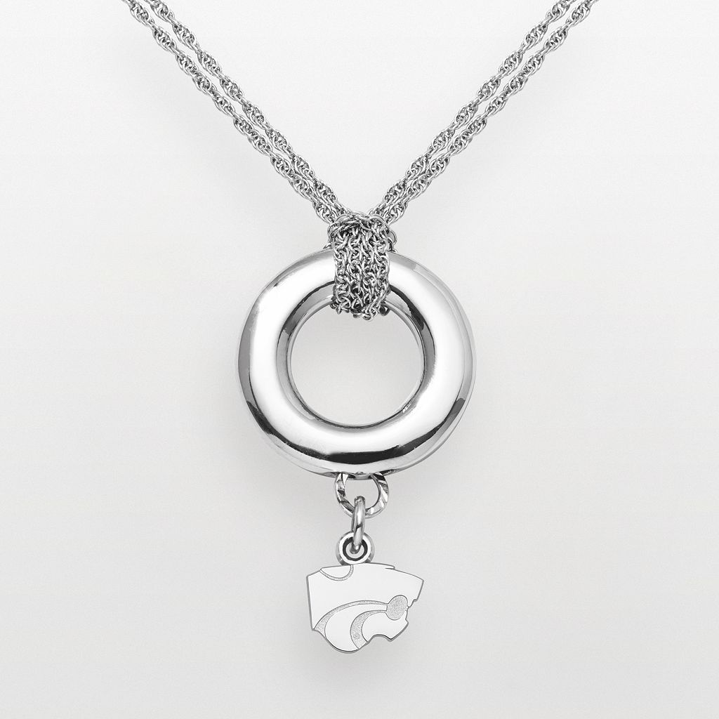 Kansas State Wildcats Sterling Silver Halo Pendant