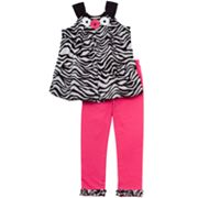 Rare Editions Zebra Bubble Top and Leggings Set - Girls 4-6x