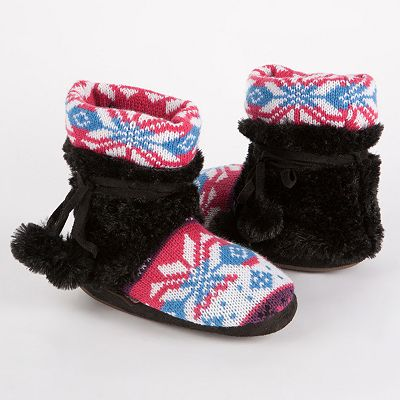 MUK LUKS Snowflake Fairisle Faux-Fur Bootie Slippers - Girls