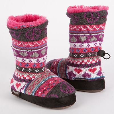 MUK LUKS Ceci Peace and Heart Toggle Bootie Slippers - Girls