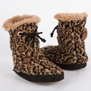 MUK LUKS Molly Leopard Scrunch Tie Bootie Slippers - Girls