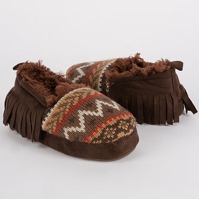 MUK LUKS Daniel Fairisle Fringed Moccasin Slippers - Boys