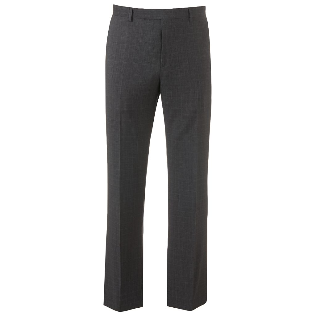 Marc Anthony Modern-Fit Plaid Wool-Blend Flat-Front Gray Dress Pants - Men