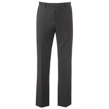 Marc Anthony Modern-Fit Plaid Wool-Blend Flat-Front Gray Dress Pants - Men