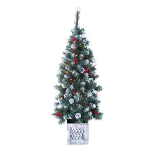 Sterling 4-ft. Winterberry Pine Potted Pre-Lit Artificial Christmas Tree