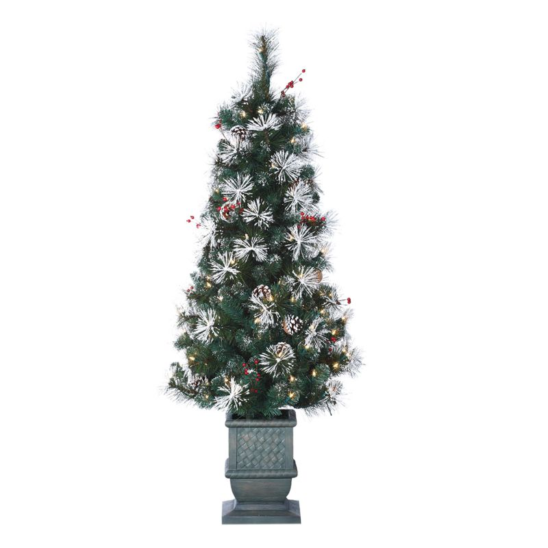 Sterling 4 1/2-ft. Snow Pine Potted Pre-Lit Christmas Tree