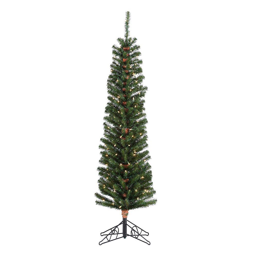 Sterling 6 1/2-ft. Pencil Fir Pre-Lit Artificial Christmas Tree