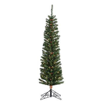 Sterling 6 1/2-ft. Pencil Fir Pre-Lit Artificial Christmas Tree