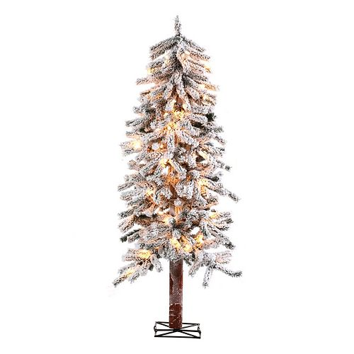 Artificial Christmas Tree Warehouse: Sterling 5-Ft. Flocked Alpine Pre-Lit Artificial Christmas