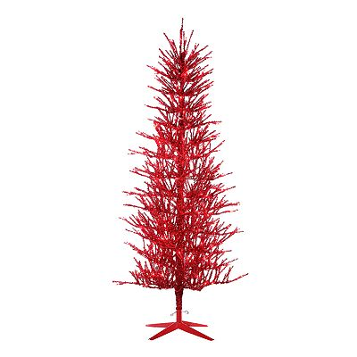 Sterling 5-ft. Pre-Lit Red Tinsel Christmas Tree