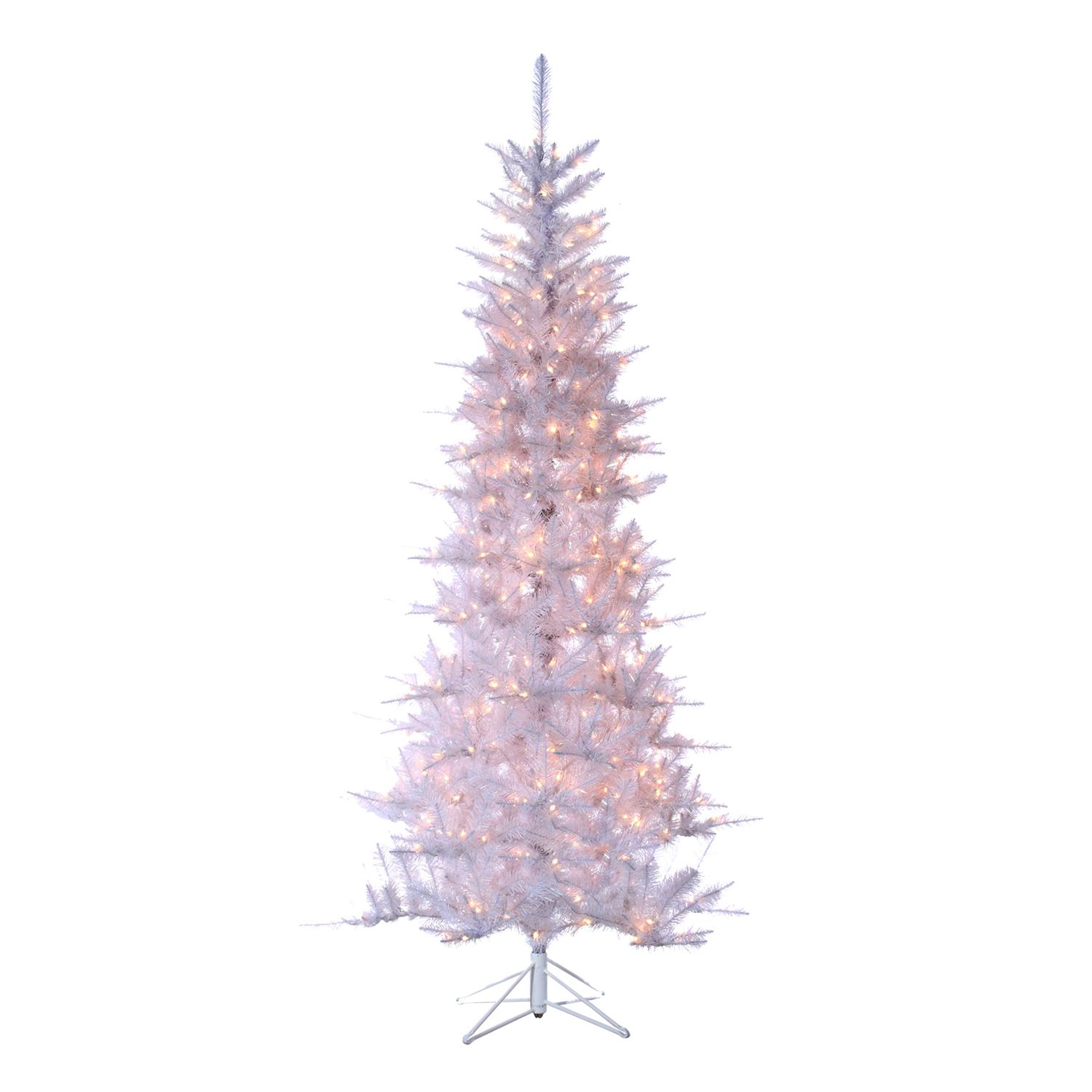 Sterling 7 1/2 Ft. Pre Lit Tinsel Artificial Christmas Tree. White