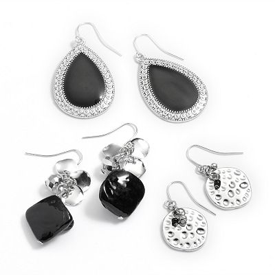 SONOMA life + style Silver Tone Bead Drop and Teardrop Earring Set