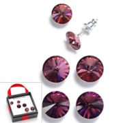 Silver Tone Simulated Crystal Button Stud Earring Set